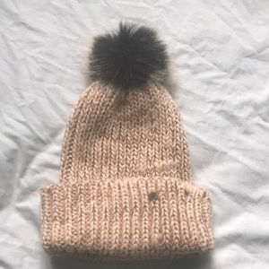 Fabletics warm blush colored winter hat